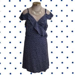 CITY CHIC FLIRTY NAVY SPOT WRAP DRESS Sz. 24 NWT